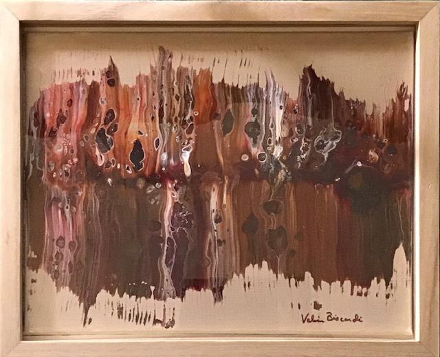 <h4>Corona 2020</h4> <strong>Artist:</strong> Valerie J. Biscardi<br /> <strong>Size:</strong> 12x15<br /> <strong>Medium:</strong> Acrylic Pour<br /> <strong>Price:</strong> $125<br />